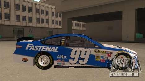 Ford Fusion NASCAR No. 99 Fastenal Aflac Subway para GTA San Andreas traseira esquerda vista