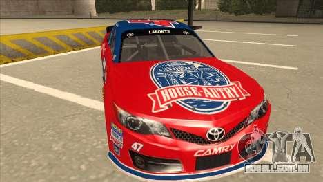 Toyota Camry NASCAR No. 47 House-Autry para GTA San Andreas esquerda vista