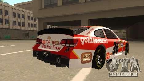 Chevrolet SS NASCAR No. 36 Golden Corral para GTA San Andreas vista direita