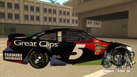 Chevrolet SS NASCAR No. 5 Great Clips para GTA San Andreas traseira esquerda vista