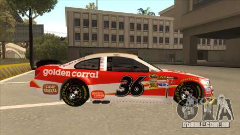 Chevrolet SS NASCAR No. 36 Golden Corral para GTA San Andreas traseira esquerda vista