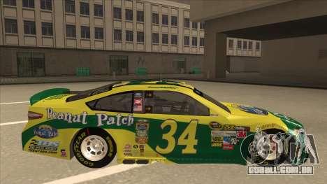 Ford Fusion NASCAR No. 34 Peanut Patch para GTA San Andreas traseira esquerda vista