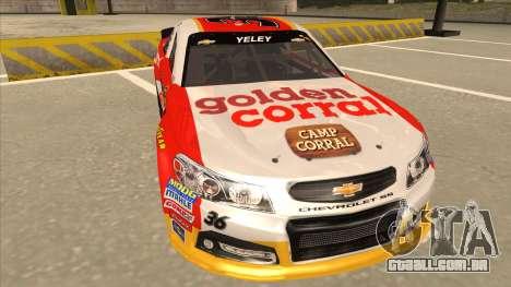 Chevrolet SS NASCAR No. 36 Golden Corral para GTA San Andreas esquerda vista