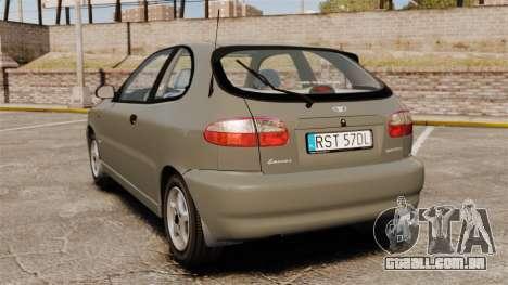Daewoo Lanos 1997 PL para GTA 4 traseira esquerda vista