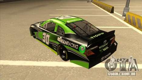 Toyota Camry NASCAR No. 30 Widow Wax para GTA San Andreas vista traseira