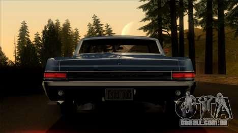 Pontiac Tempest LeMans GTO Hardtop Coupe 1965 para GTA San Andreas vista interior