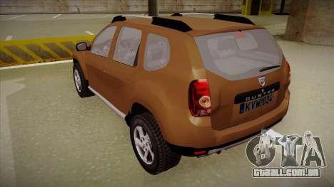 Dacia Duster Elite para GTA San Andreas vista traseira