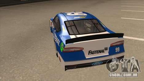 Ford Fusion NASCAR No. 99 Fastenal Aflac Subway para GTA San Andreas vista traseira