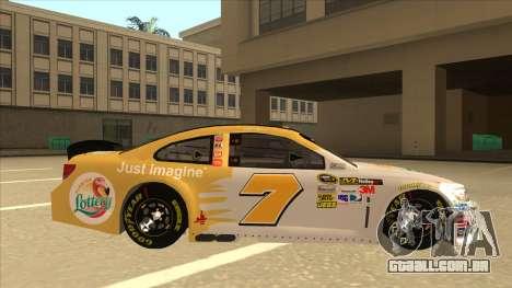 Chevrolet SS NASCAR No. 7 Florida Lottery para GTA San Andreas traseira esquerda vista