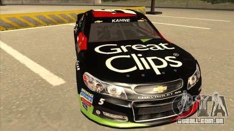 Chevrolet SS NASCAR No. 5 Great Clips para GTA San Andreas esquerda vista
