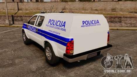 Toyota Hilux Croatian Police v2.0 [ELS] para GTA 4 traseira esquerda vista