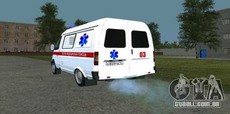 GÁS 22172 ambulância para GTA San Andreas traseira esquerda vista
