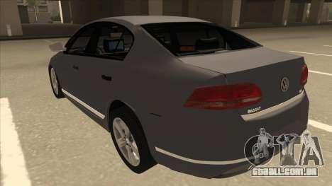 Volkswagen Passat 2.0 Turbo para GTA San Andreas vista traseira