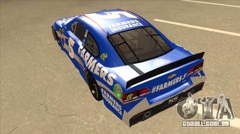 Chevrolet SS NASCAR No. 5 Farmers Insurance para GTA San Andreas vista traseira