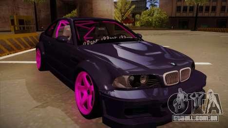 BMW M3 Drift para GTA San Andreas esquerda vista