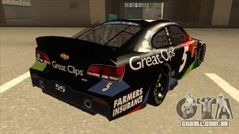 Chevrolet SS NASCAR No. 5 Great Clips para GTA San Andreas vista direita