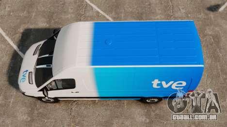 Mercedes-Benz Sprinter Spanish Television Van para GTA 4 vista direita