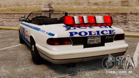 A versão conversível da polícia para GTA 4 traseira esquerda vista