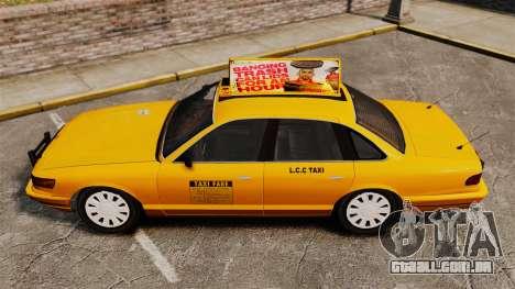 Taxi com novo disco v2 para GTA 4 traseira esquerda vista