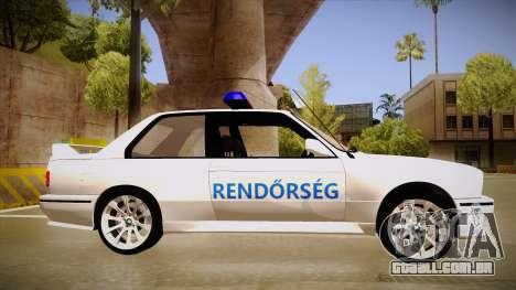 BMW M3 E30 Rendőrség para GTA San Andreas traseira esquerda vista