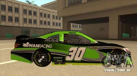 Toyota Camry NASCAR No. 30 Widow Wax para GTA San Andreas traseira esquerda vista