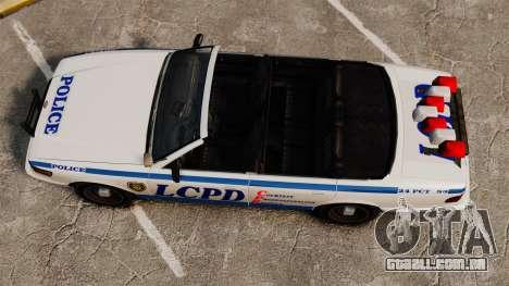 A versão conversível da polícia para GTA 4 vista direita