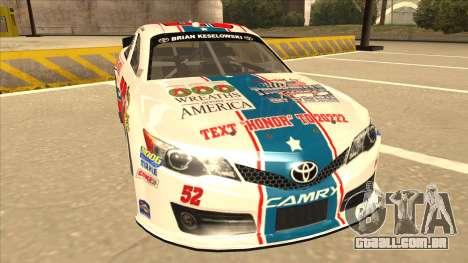Toyota Camry NASCAR No. 52 TruckerFan para GTA San Andreas esquerda vista