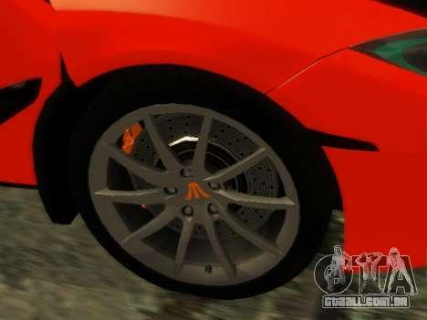McLaren MP4-12C WheelsAndMore para GTA San Andreas vista traseira
