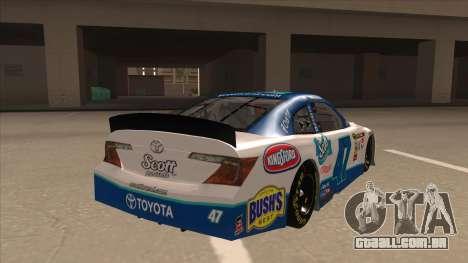 Toyota Camry NASCAR No. 47 Scott para GTA San Andreas vista direita