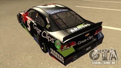 Chevrolet SS NASCAR No. 5 Great Clips para GTA San Andreas vista traseira