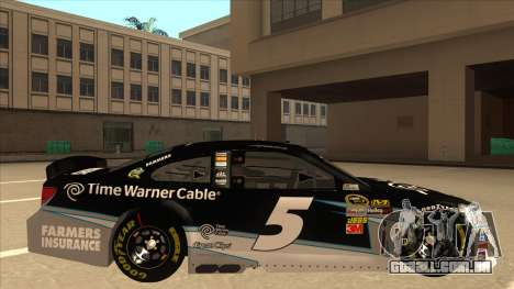 Chevrolet SS NASCAR No. 5 Time Warner Cable para GTA San Andreas traseira esquerda vista