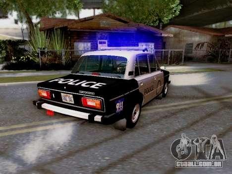 Polícia de Los Santos VAZ 2106 para GTA San Andreas vista superior