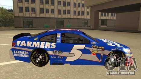 Chevrolet SS NASCAR No. 5 Farmers Insurance para GTA San Andreas traseira esquerda vista