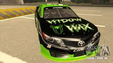 Toyota Camry NASCAR No. 30 Widow Wax para GTA San Andreas esquerda vista