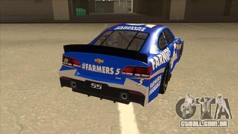 Chevrolet SS NASCAR No. 5 Farmers Insurance para GTA San Andreas vista direita