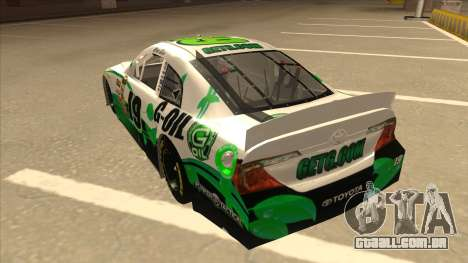 Toyota Camry NASCAR No. 19 G-Oil para GTA San Andreas vista traseira