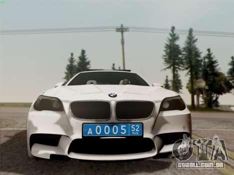 BMW M5 F10 ESCRITÓRIO INTERIOR para GTA San Andreas vista traseira