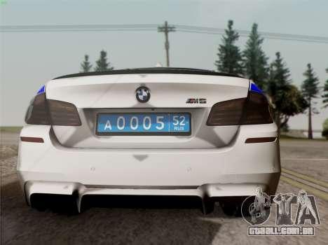 BMW M5 F10 ESCRITÓRIO INTERIOR para GTA San Andreas vista direita