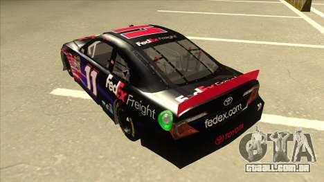 Toyota Camry NASCAR No. 11 FedEx Freight para GTA San Andreas vista traseira