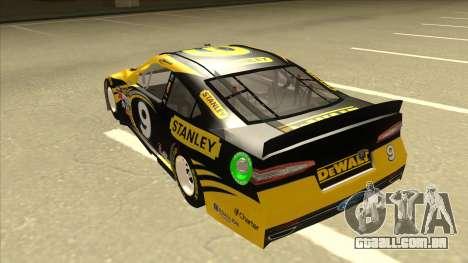 Ford Fusion NASCAR No. 9 Stanley DeWalt para GTA San Andreas vista traseira