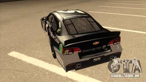 Chevrolet SS NASCAR No. 5 Time Warner Cable para GTA San Andreas vista traseira