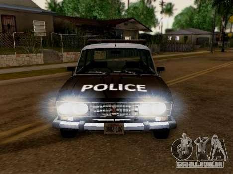Polícia de Los Santos VAZ 2106 para GTA San Andreas vista traseira