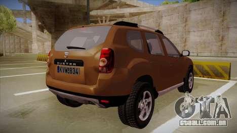 Dacia Duster Elite para GTA San Andreas vista direita