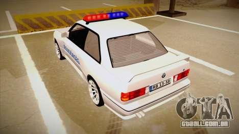 BMW M3 E30 Rendőrség para GTA San Andreas vista traseira