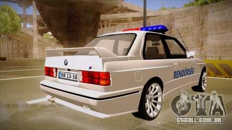 BMW M3 E30 Rendőrség para GTA San Andreas vista direita