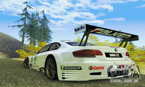 BMW M3 GT2 E92 ALMS para GTA San Andreas traseira esquerda vista
