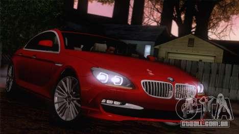 BMW 6 Gran Coupe v1.0 para GTA San Andreas vista interior