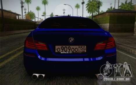 BMW M5 F10 v2 para GTA San Andreas vista interior