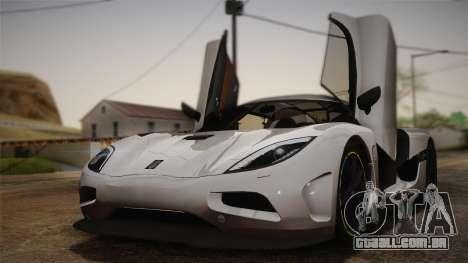 Koenigsegg Agera para GTA San Andreas vista interior