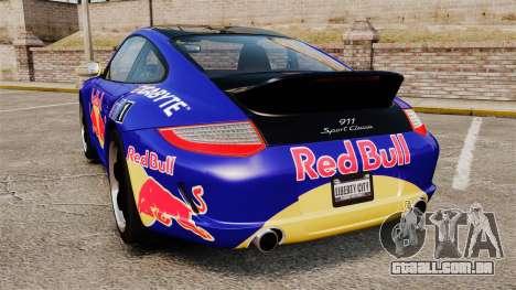 Porsche 911 Sport Classic 2010 Red Bull para GTA 4 traseira esquerda vista
